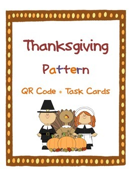 Thanksgiving Pattern QR Code Task Card SCOOT