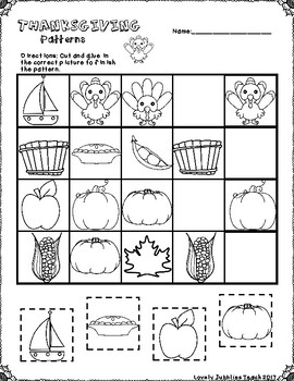 Thanksgiving Patterns Cut and Paste