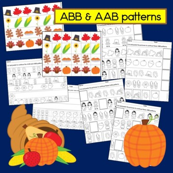 Thanksgiving Math: AB, ABC, AAB & ABB Patterns with Pilgrims and more