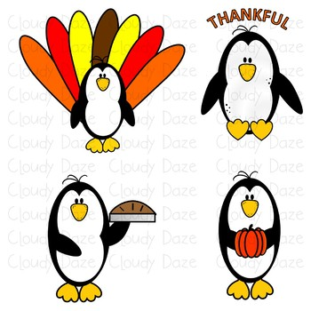 Thanksgiving Penguin Clip Art