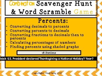 Thanksgiving Percent Scavenger Hunt