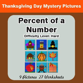 Thanksgiving: Percent of a number - Color-By-Number Math Mystery Pictures