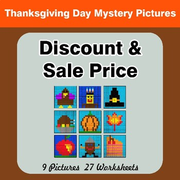 Thanksgiving: Percents - Sale Price, Discount, Savings - Math Mystery Pictures