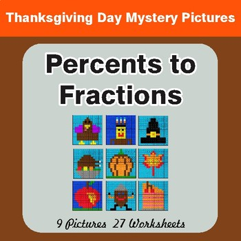 Thanksgiving: Percents to Fractions - Color-By-Number Math Mystery Pictures
