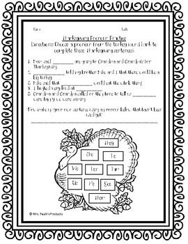 Thanksgiving Personal Pronoun Practice