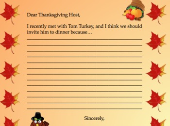 Thanksgiving Persuasion Lesson - Convince Your Host To Invite Tom Turkey!