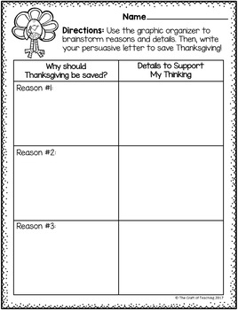 Thanksgiving Persuasive Opinion Writing Freebie