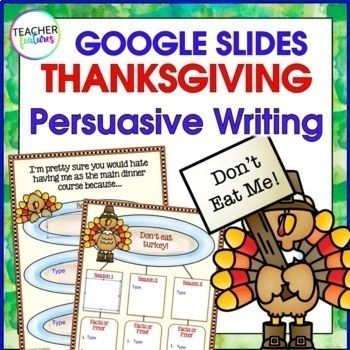 Thanksgiving Activities for Google Classroom PERSUASIVE WRITING