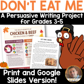 Thanksgiving Persuasive/Opinion Writing: Don't Eat Turkey! (3rd-6th grades)