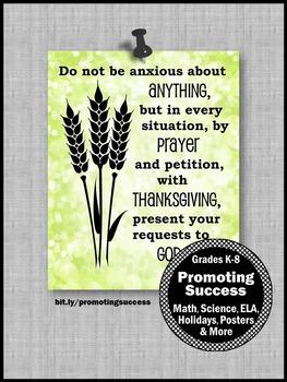 Philippians 4:6 Thanksgiving Bible Verse Quote Poster Classroom Decor