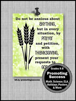 Bible Verse Poster Philippians 4:6 Religious Thanksgiving Decor