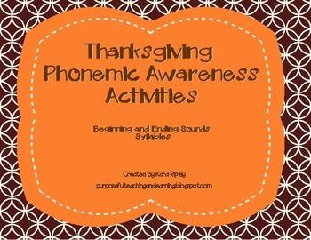 Thanksgiving Phonemic Awareness Activities (Beginning Ending Sounds & Syllables)