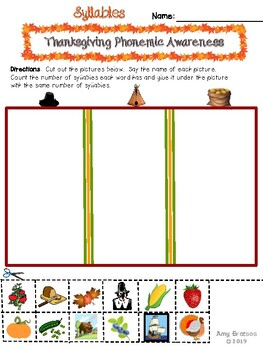 Thanksgiving Phonemic Awareness Freebie