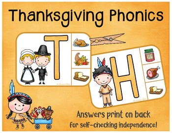 Thanksgiving Phonics:  Matching Letters and Sounds Clip Cards