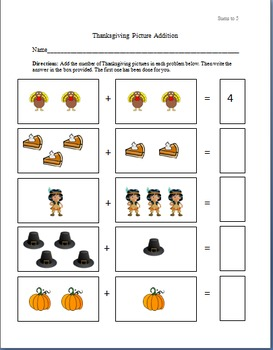 Thanksgiving Picture Addition Worksheets