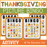 Thanksgiving Picture BINGO Game - 8 Game Cards
