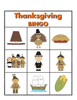 Thanksgiving Picture Bingo