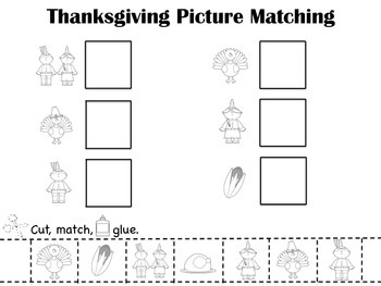 Thanksgiving Picture Matching Pages