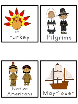 Thanksgiving Picture Word Bank and Picture Cards