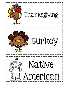 Thanksgiving Picture Word Cards