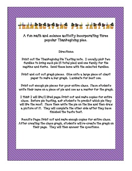 Thanksgiving Pie Tasting -  A Fun Math and Science Activity