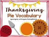 Thanksgiving Pie Vocabulary