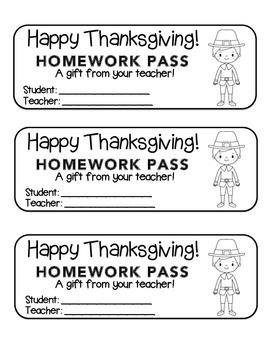 """Thanksgiving"" Pilgrim Boy - Homework Pass –Holiday FUN! (black line version)"