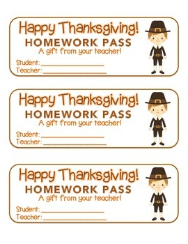 """Thanksgiving"" Pilgrim Boy - Homework Pass – Holiday FUN! (full color version)"