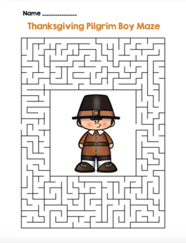 Thanksgiving Pilgrim Boy Maze! Thanksgiving Maze FUN! (Color & Black Line)