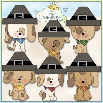 Thanksgiving Pilgrim Dogs Clip Art - Thanksgiving Clip Art - CU Clip Art & B&W