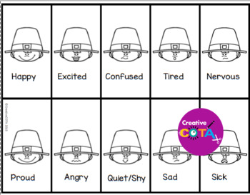 Thanksgiving Pilgrim Emotions and Feelings Bingo