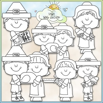 Thanksgiving Pilgrim Family Clip Art - Thanksgiving Clip Art - CU Clip Art & B&W