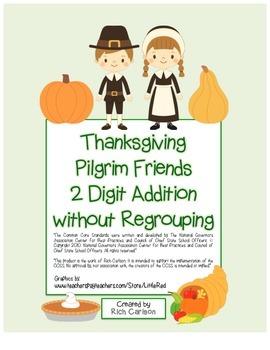 """Thanksgiving Pilgrim Friends"" 2 Digit Addition No Regrouping (color &blackline)"