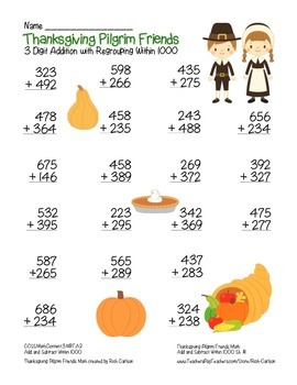 """Thanksgiving Pilgrim Friends"" 3 Digit Addition Regrouping (color & black line)"