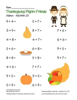 """Thanksgiving Pilgrim Friends"" Add Within 20 - Common Core - FUN! (color)"
