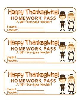 """Thanksgiving"" Pilgrim Friends - Homework Pass – FUN! (color & black line)"
