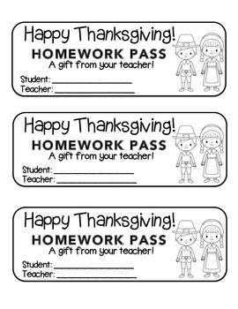 """Thanksgiving"" Pilgrim Friends - Homework Pass –Holiday FUN! (black line)"