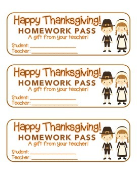 """Thanksgiving"" Pilgrim Friends - Homework Pass – Holiday FUN! (full color)"
