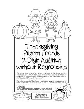 """Thanksgiving Pilgrim Friends Math"" 2 Digit Addition No Regrouping! (black line)"