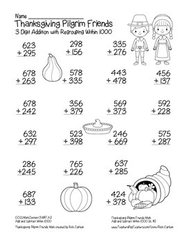 """Thanksgiving Pilgrim Friends Math"" 3 Digit Addition Regrouping (black line)"