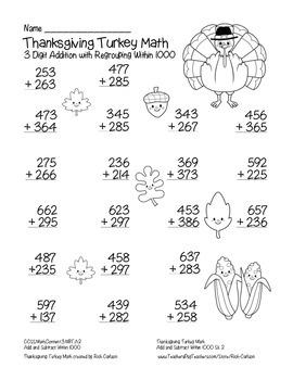 """Thanksgiving Pilgrim Friends Math"" 3 Digit Addition Regrouping! (black line)"