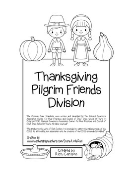 """Thanksgiving Pilgrim Friends Math"" Division - FUN! (black line)"