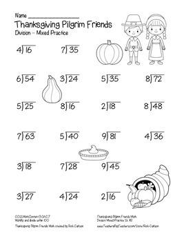 """Thanksgiving Pilgrim Friends Math""  - Division - FUN! (black line & color)"