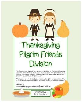 """""""Thanksgiving Pilgrim Friends Math""""  - Division - FUN! (bl"""