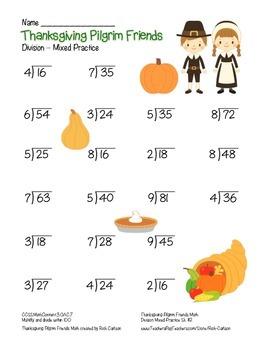 """Thanksgiving Pilgrim Friends Math"" Division - FUN! (color)"