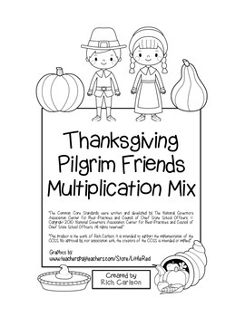 """Thanksgiving Pilgrim Friends Math"" Mixed Multiplication - FUN! (black line)"
