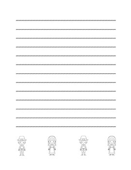 """Thanksgiving Pilgrim Friends"" Writing Sheets (black line)"