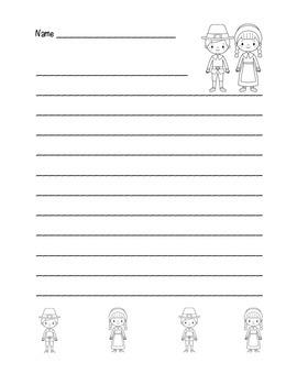 """Thanksgiving Pilgrim Friends"" Writing Sheets (black line)"