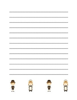 """Thanksgiving Pilgrim Friends"" Writing Sheets  (color & black line)"