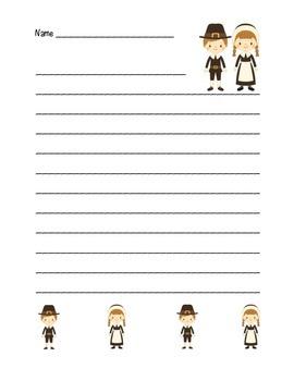 """Thanksgiving Pilgrim Friends"" Writing Sheets  (color & black line)"